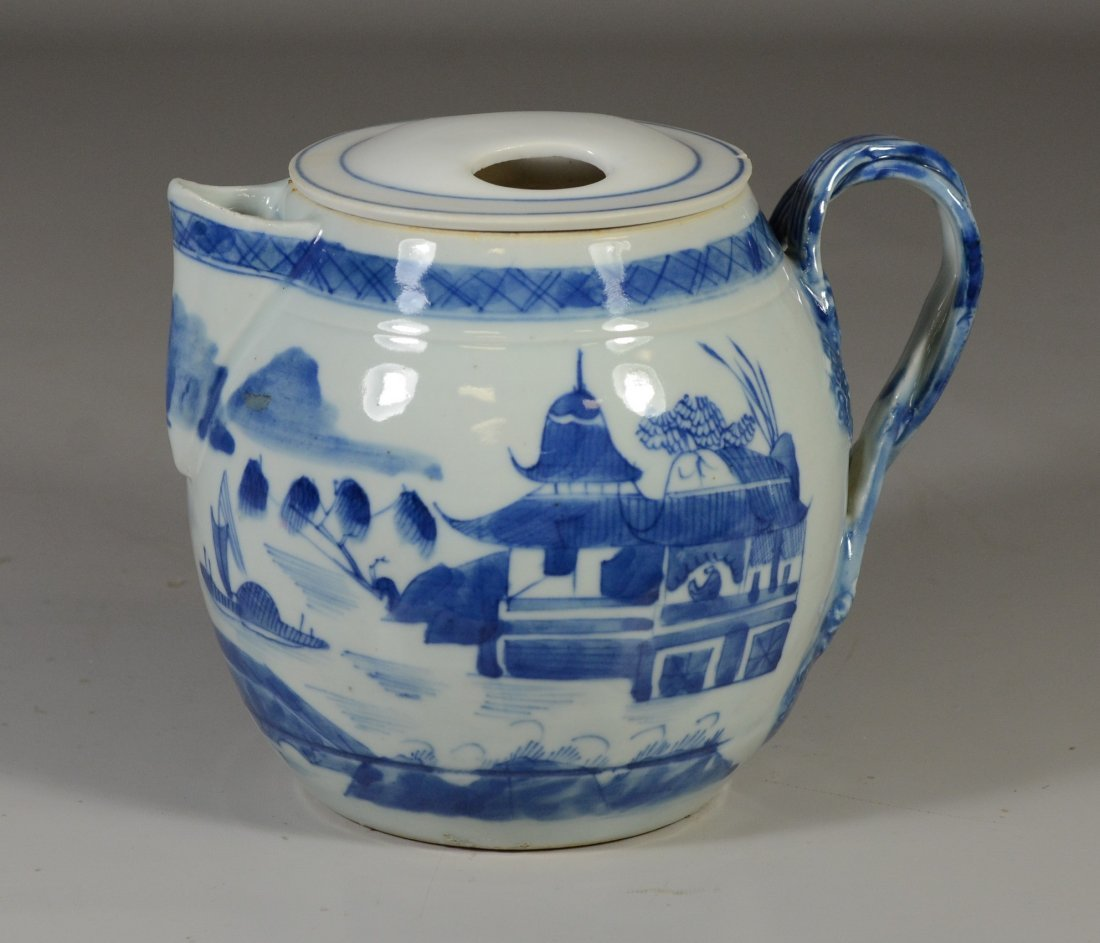 Chinese Export Canton porcelain cider jug, double