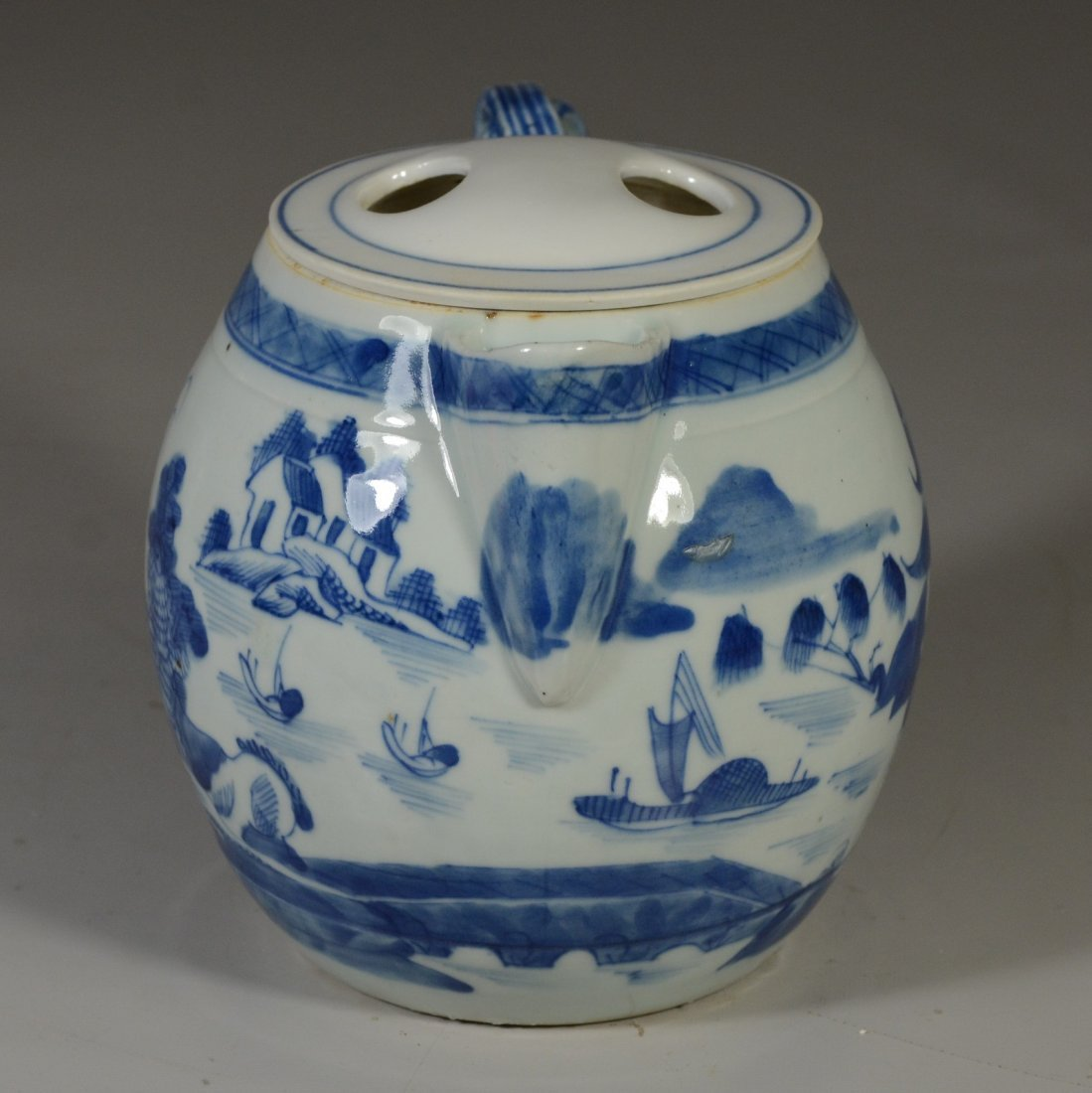 Chinese Export Canton porcelain cider jug, double - 4