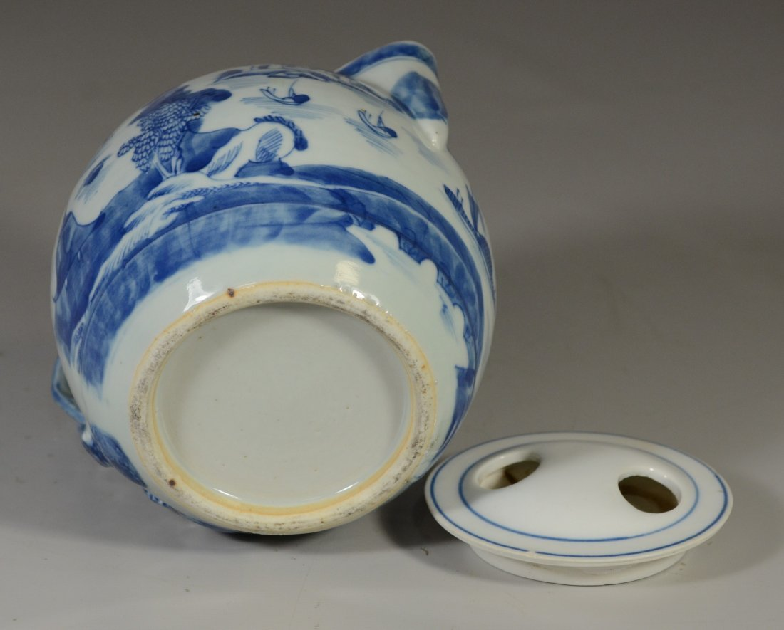 Chinese Export Canton porcelain cider jug, double - 5
