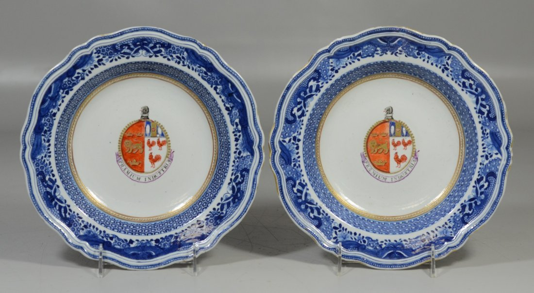 Pair of Chinese Export porcelain Armorial soup bowls,