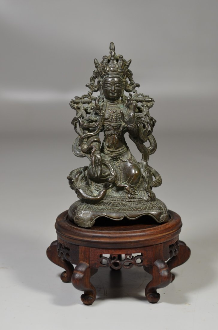 Chinese Ming Dynasty bronze Buddha with inscription to