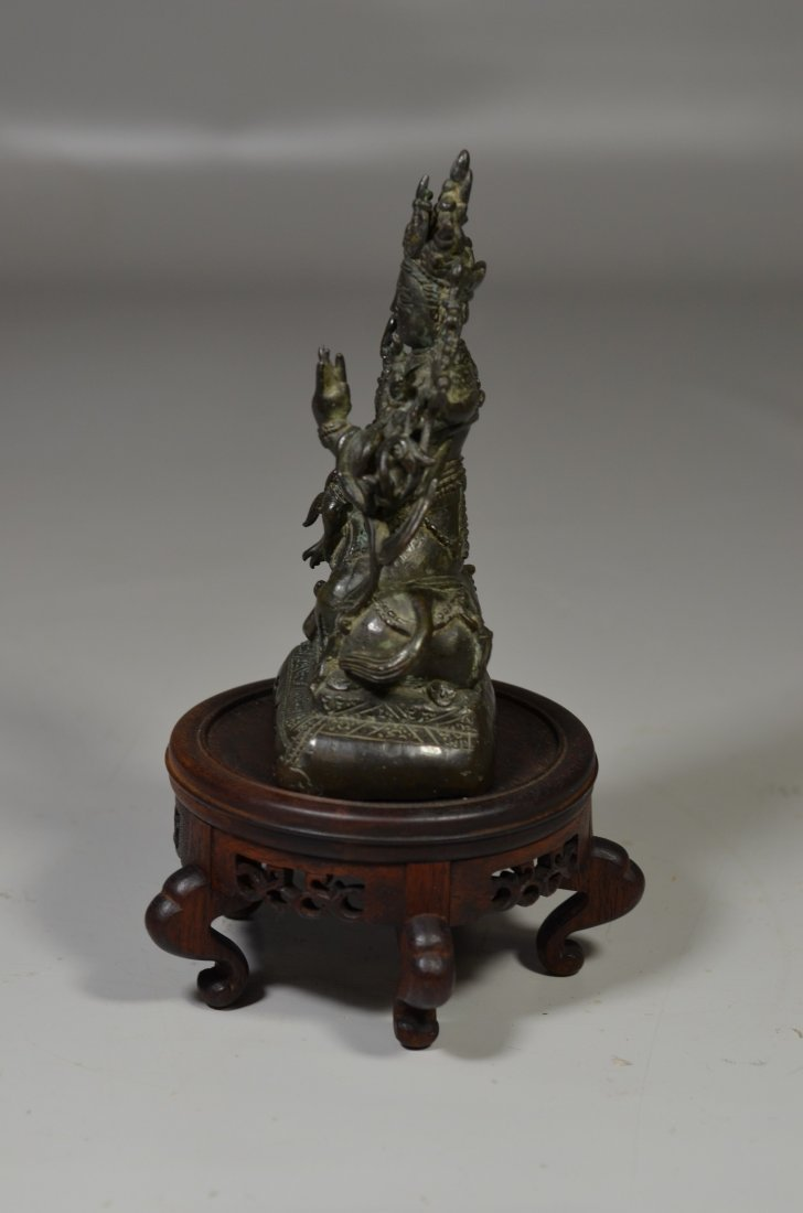 Chinese Ming Dynasty bronze Buddha with inscription to - 2