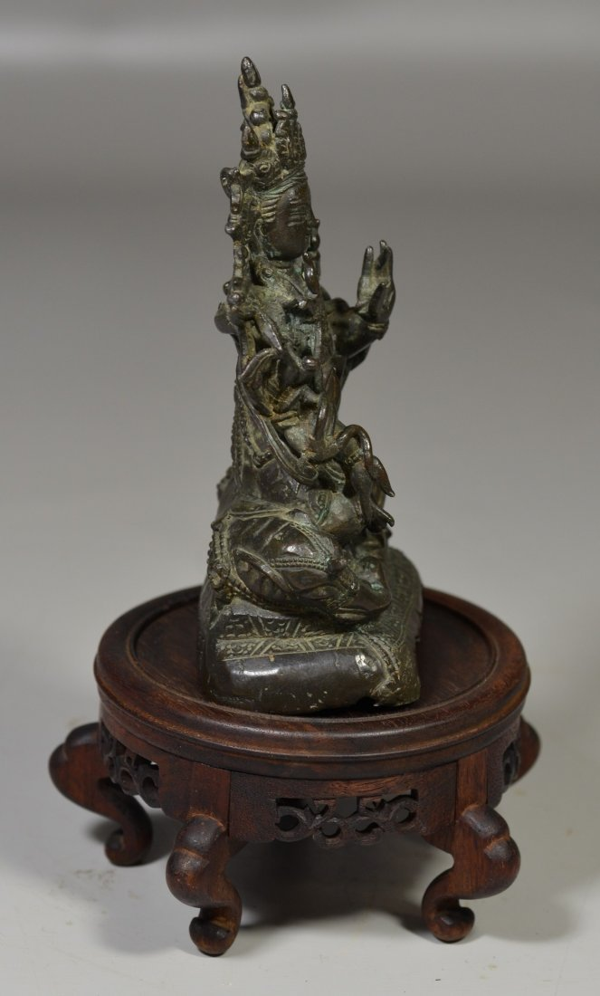 Chinese Ming Dynasty bronze Buddha with inscription to - 4