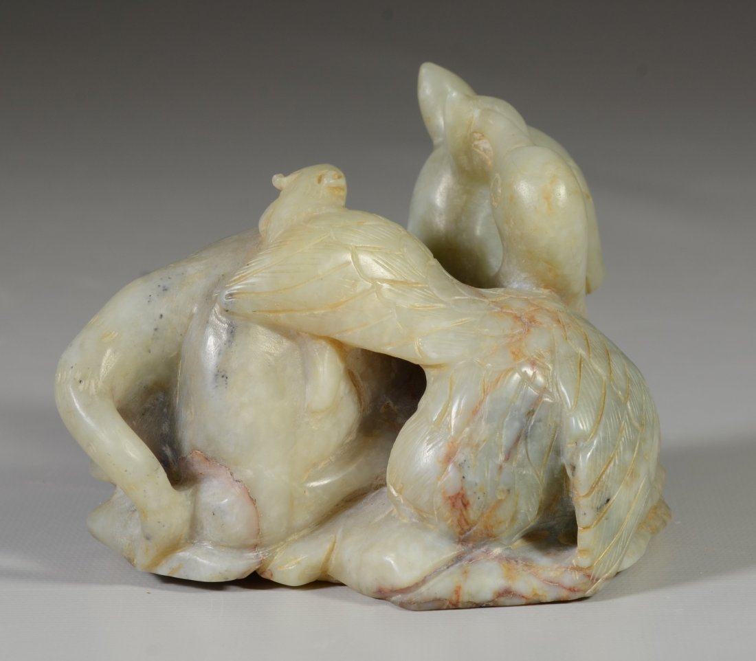 Chinese carved mutton fat jade, deer, duck & lizard, - 5