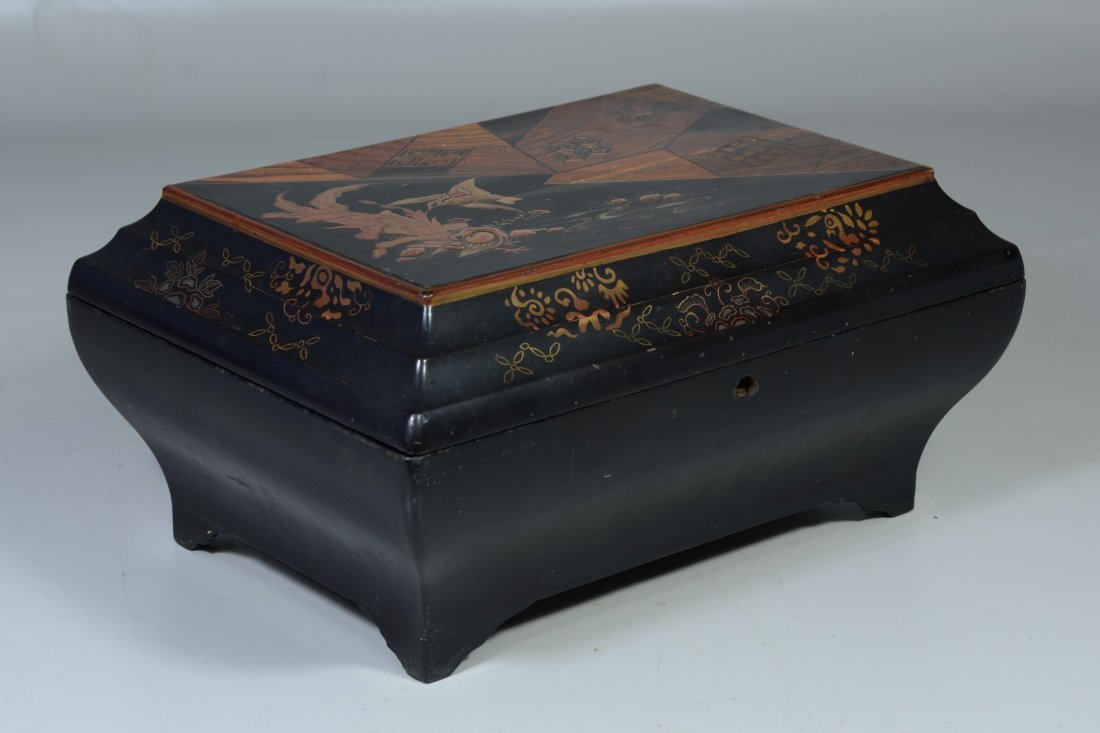 Japanese inlaid & lacquered jewelry box, lid with