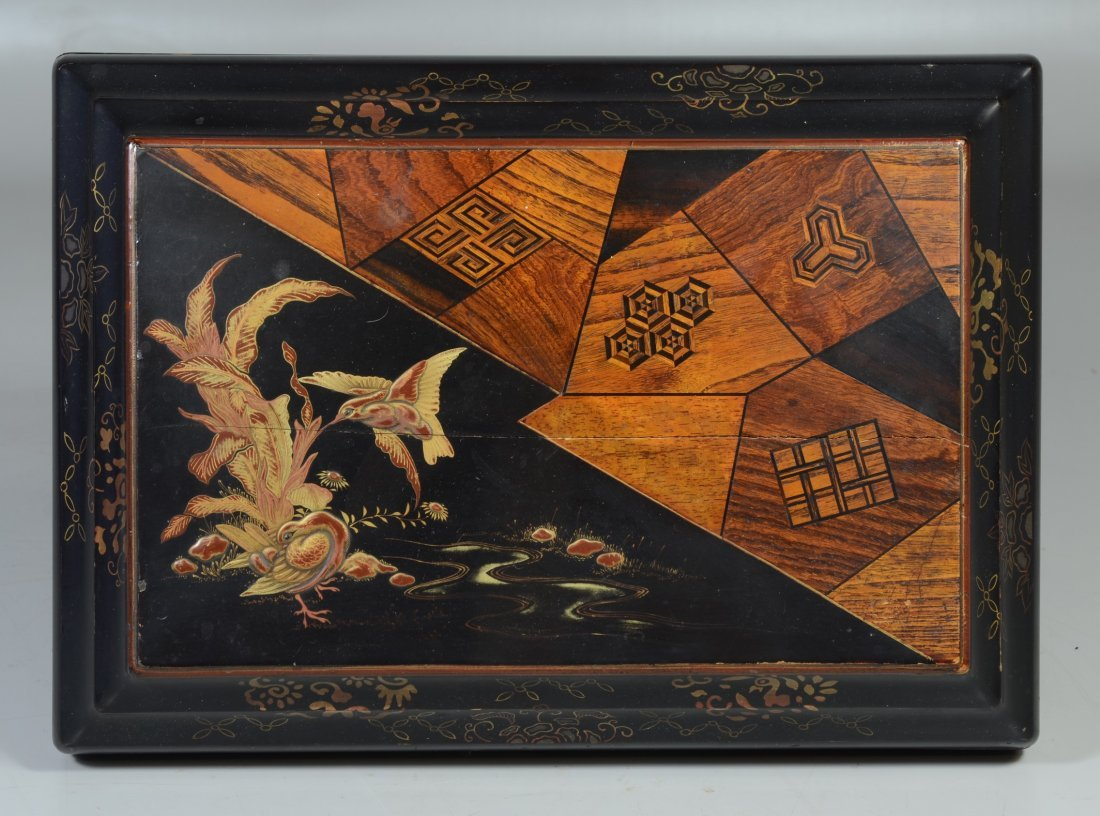 Japanese inlaid & lacquered jewelry box, lid with - 3