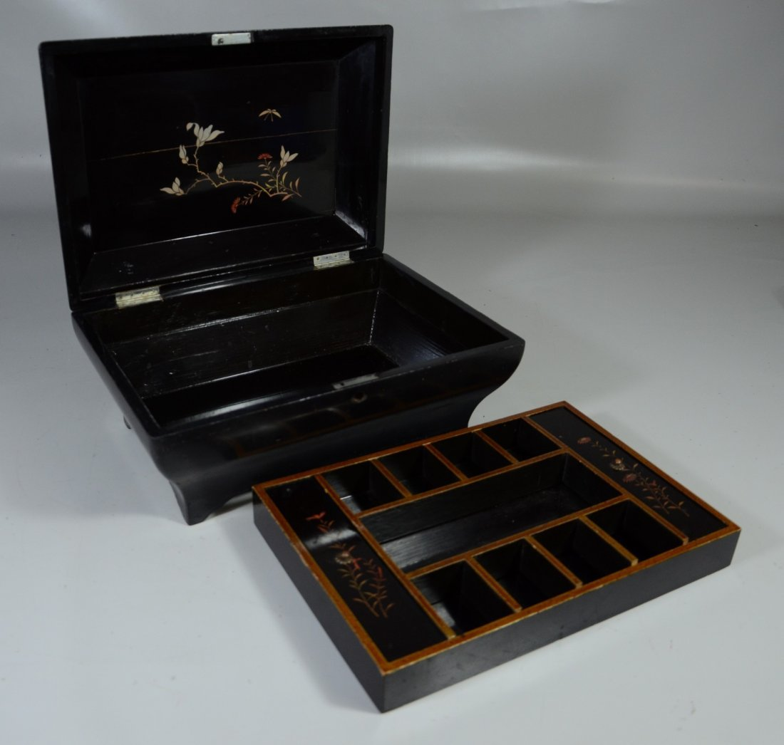 Japanese inlaid & lacquered jewelry box, lid with - 4