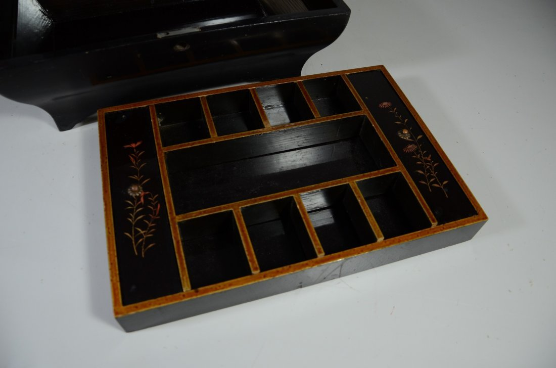 Japanese inlaid & lacquered jewelry box, lid with - 5