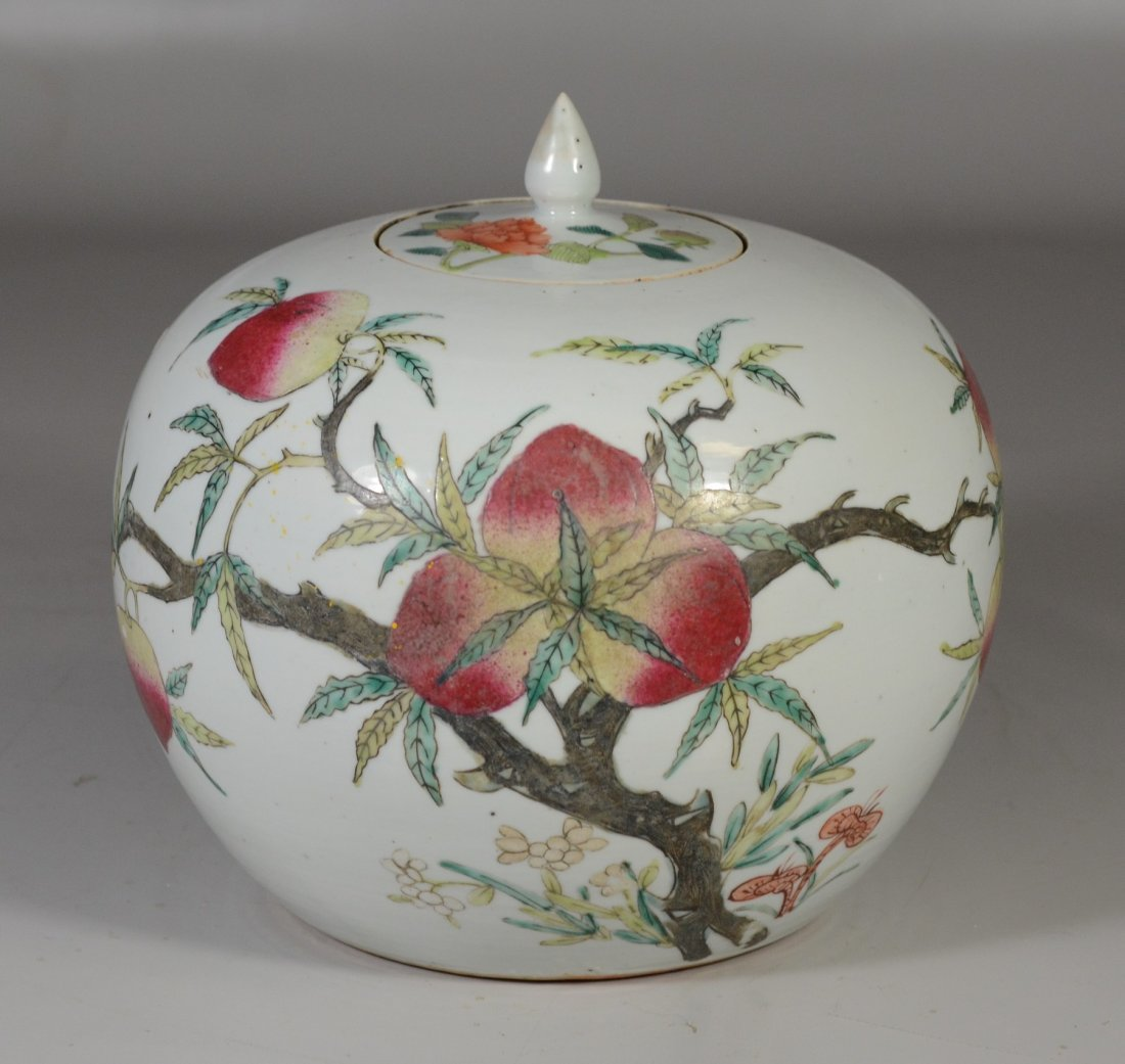 Chinese porcelain Famille Rose peach decorated ginger