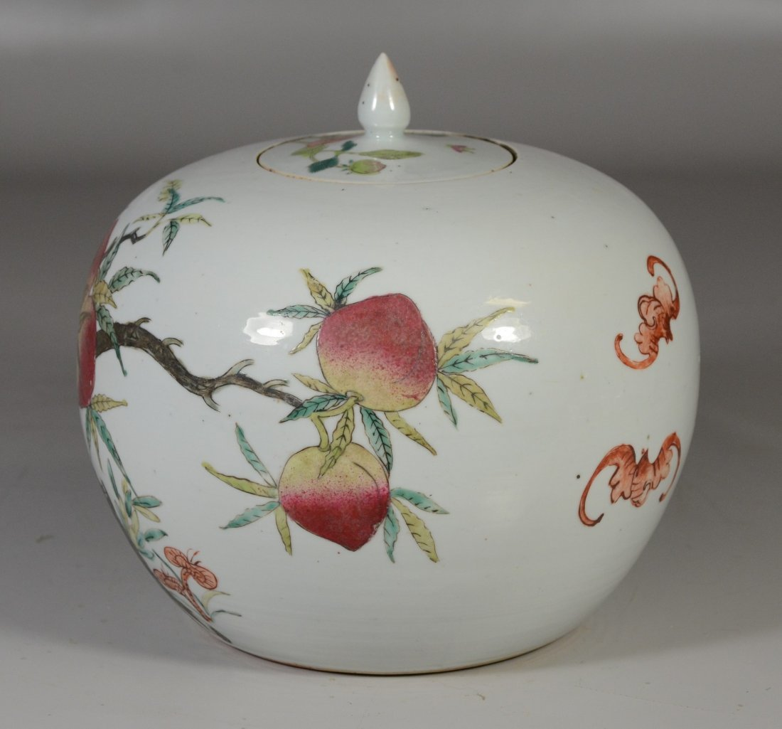 Chinese porcelain Famille Rose peach decorated ginger - 2