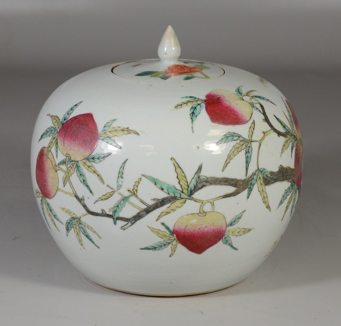 Chinese porcelain Famille Rose peach decorated ginger - 4