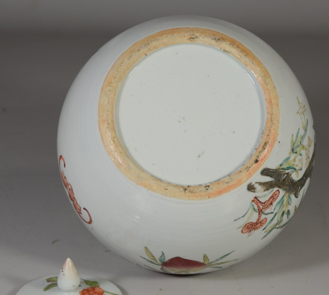 Chinese porcelain Famille Rose peach decorated ginger - 5