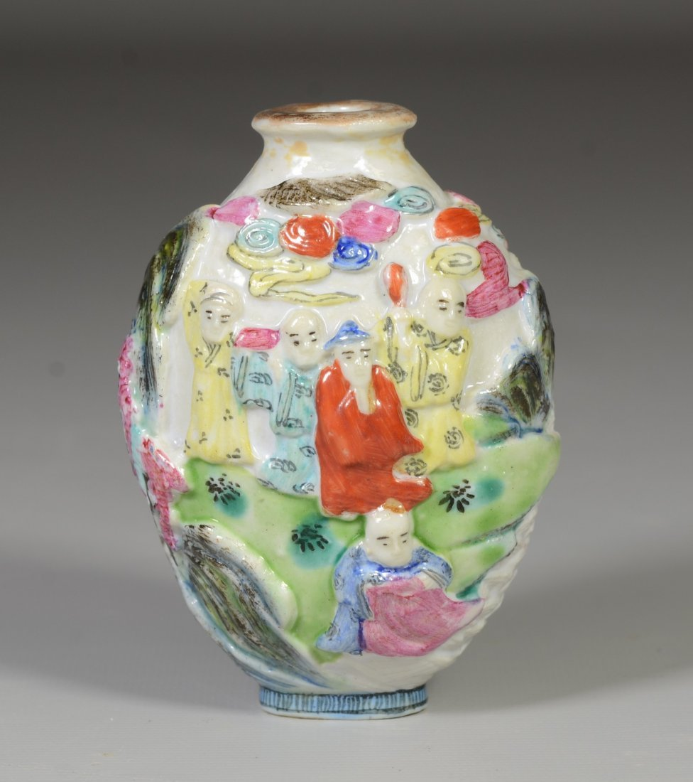 Chinese molded snuff bottle, maidens on a boat