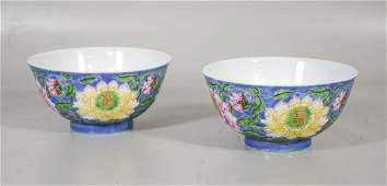 Pair of Chinese porcelain blue floral decorated bowls,