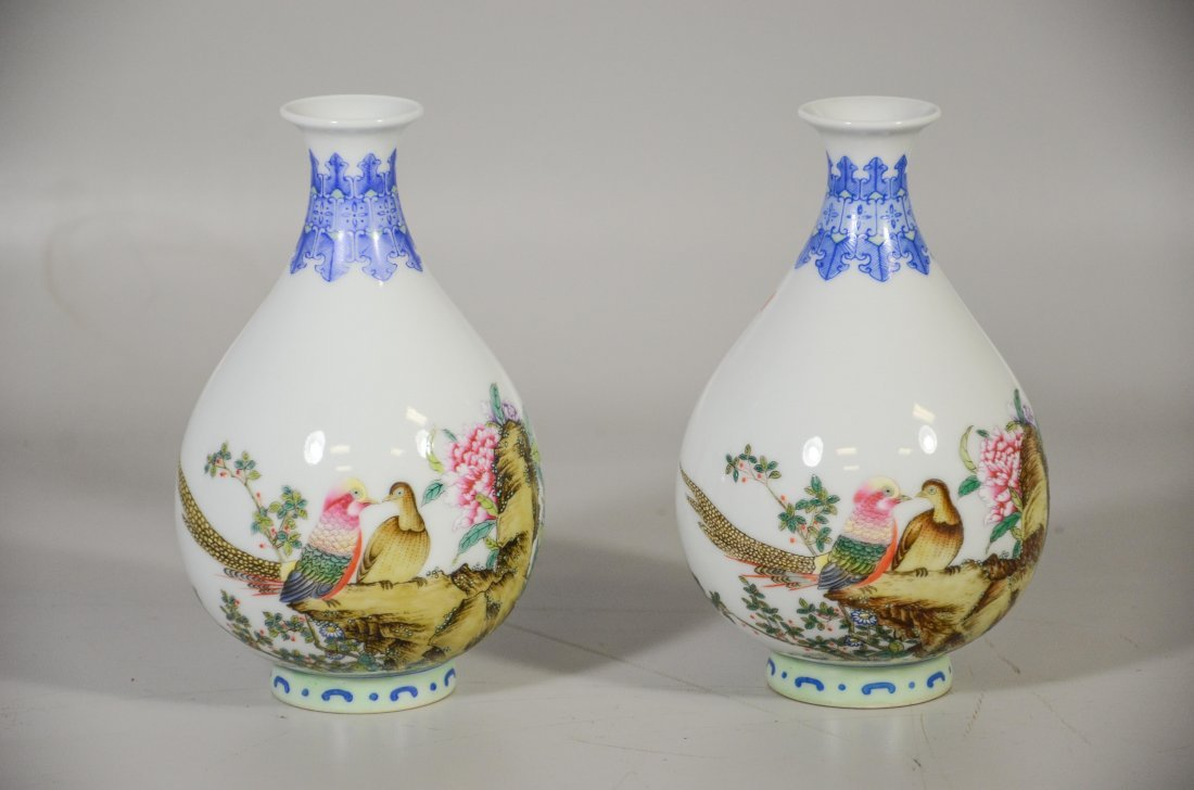 Pair of Chinese porcelain vases, decorated with exotic