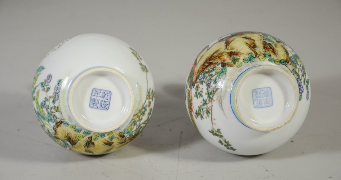Pair of Chinese porcelain vases, decorated with exotic - 5