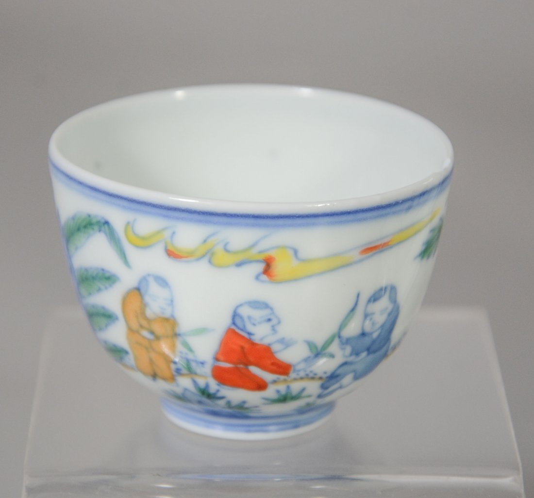 (5) Piece Chinese porcelain, including Wucai decorated - 3