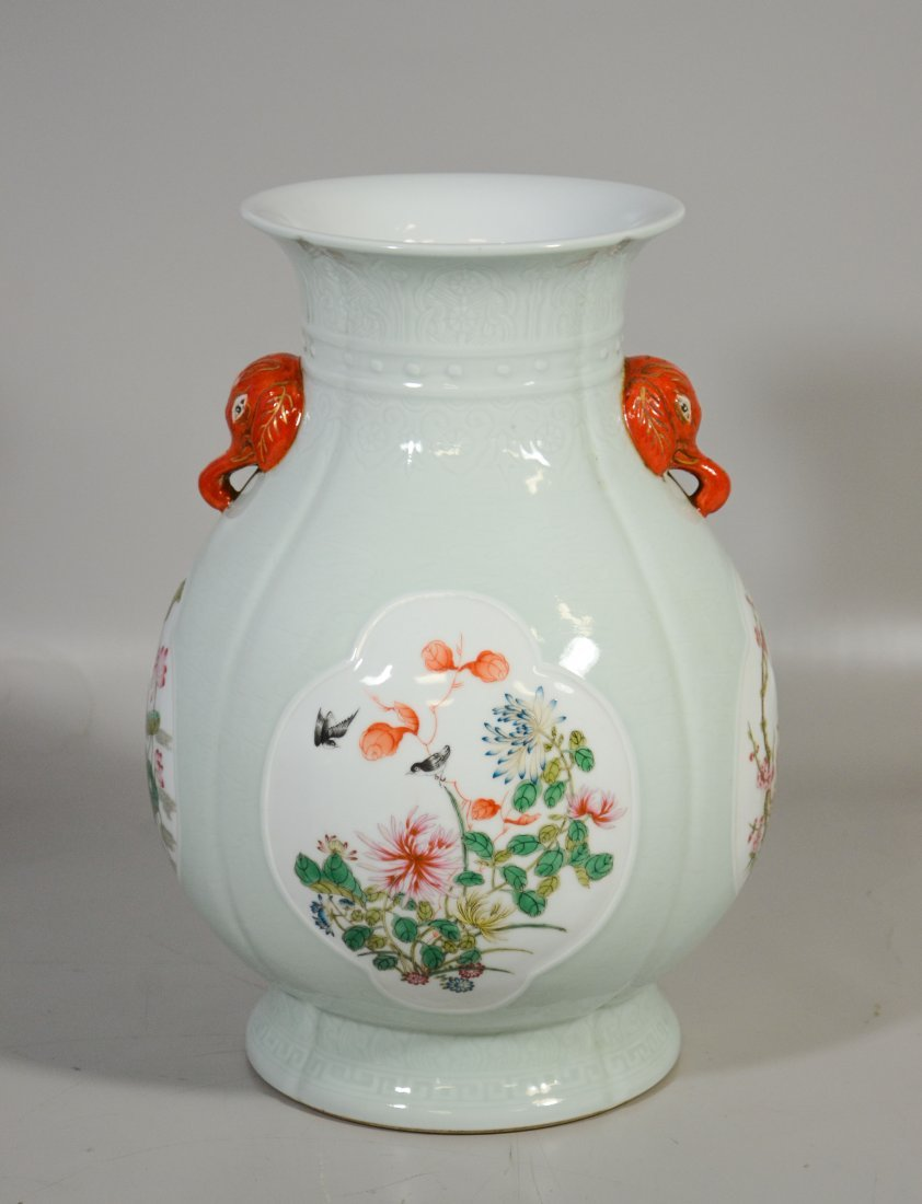 Chinese celadon & Famille Rose enamel vase with