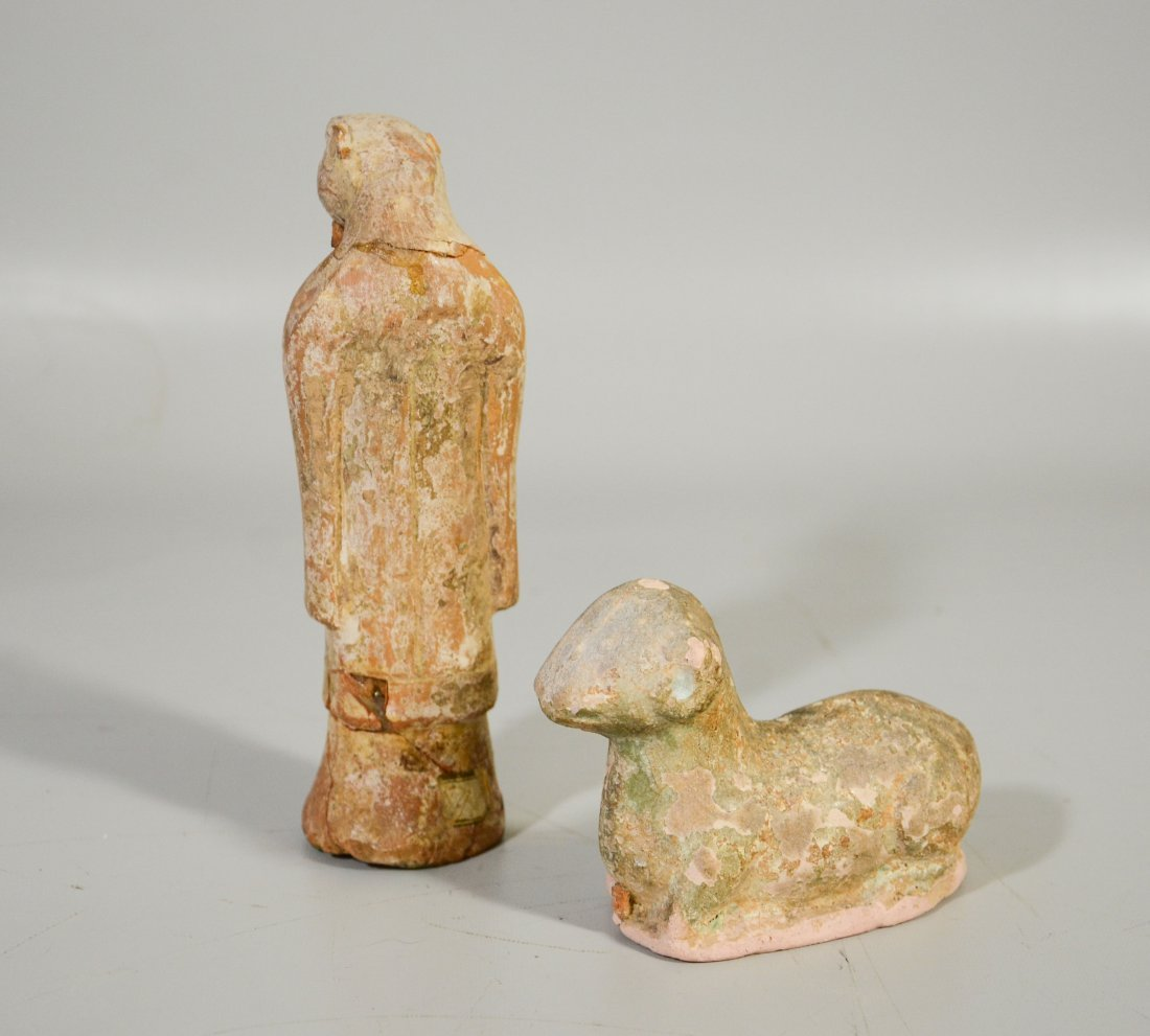 Pair of early Tong style glazed terra cotta clay - 2