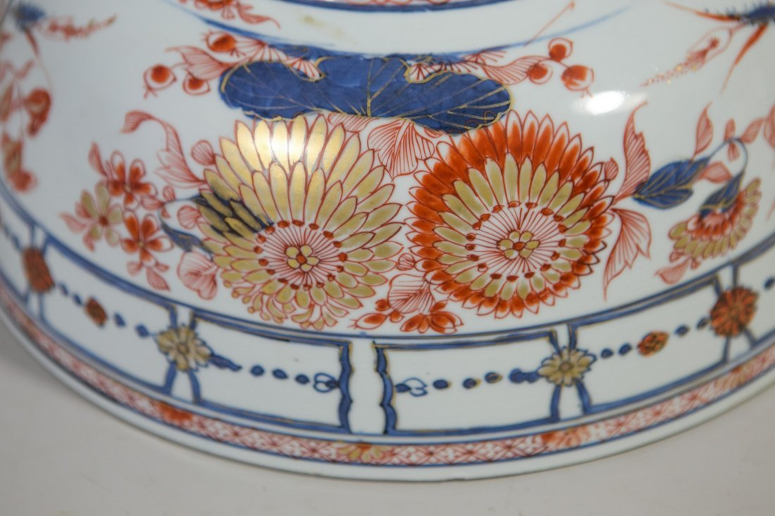Chinese Imari porcelain lidded bowl with undertray - 8