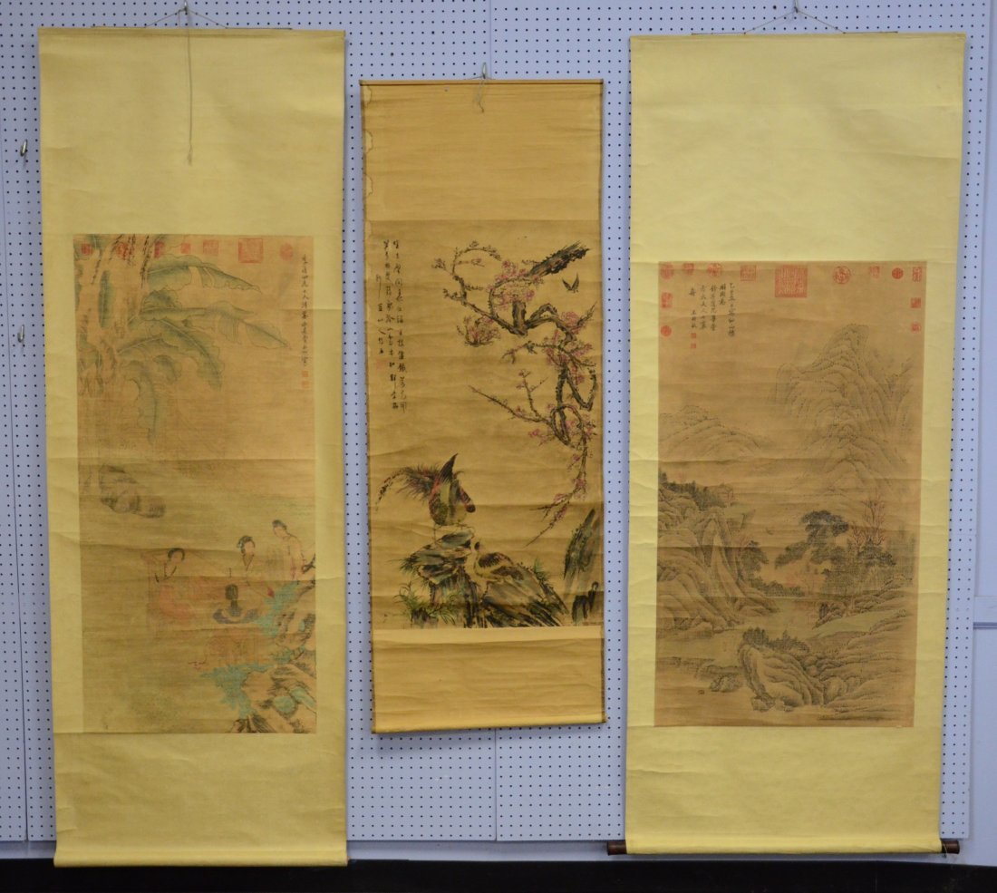 """(3) Chinese landscape scrolls, largest overall 32"""" w x"""