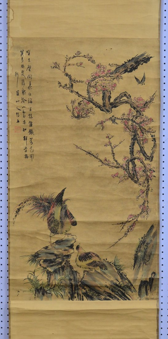 """(3) Chinese landscape scrolls, largest overall 32"""" w x - 2"""