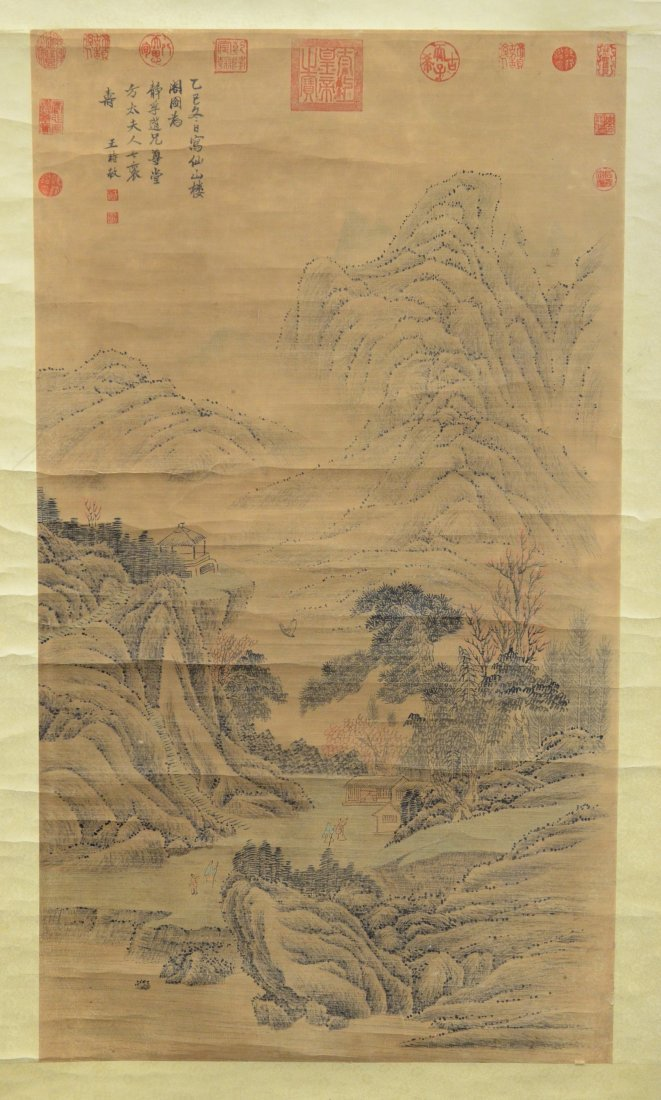 """(3) Chinese landscape scrolls, largest overall 32"""" w x - 3"""