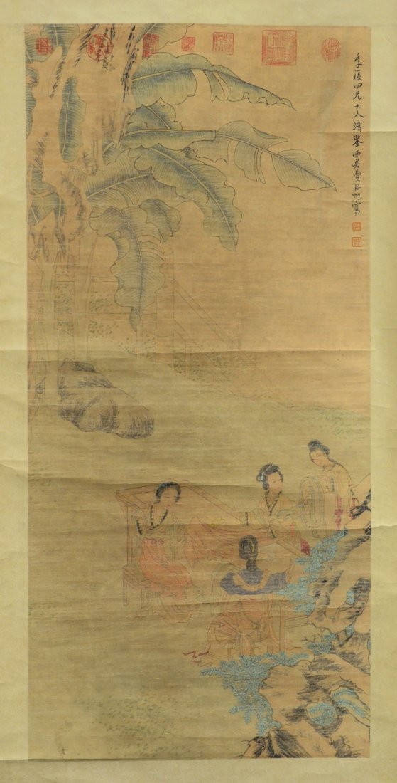 """(3) Chinese landscape scrolls, largest overall 32"""" w x - 4"""