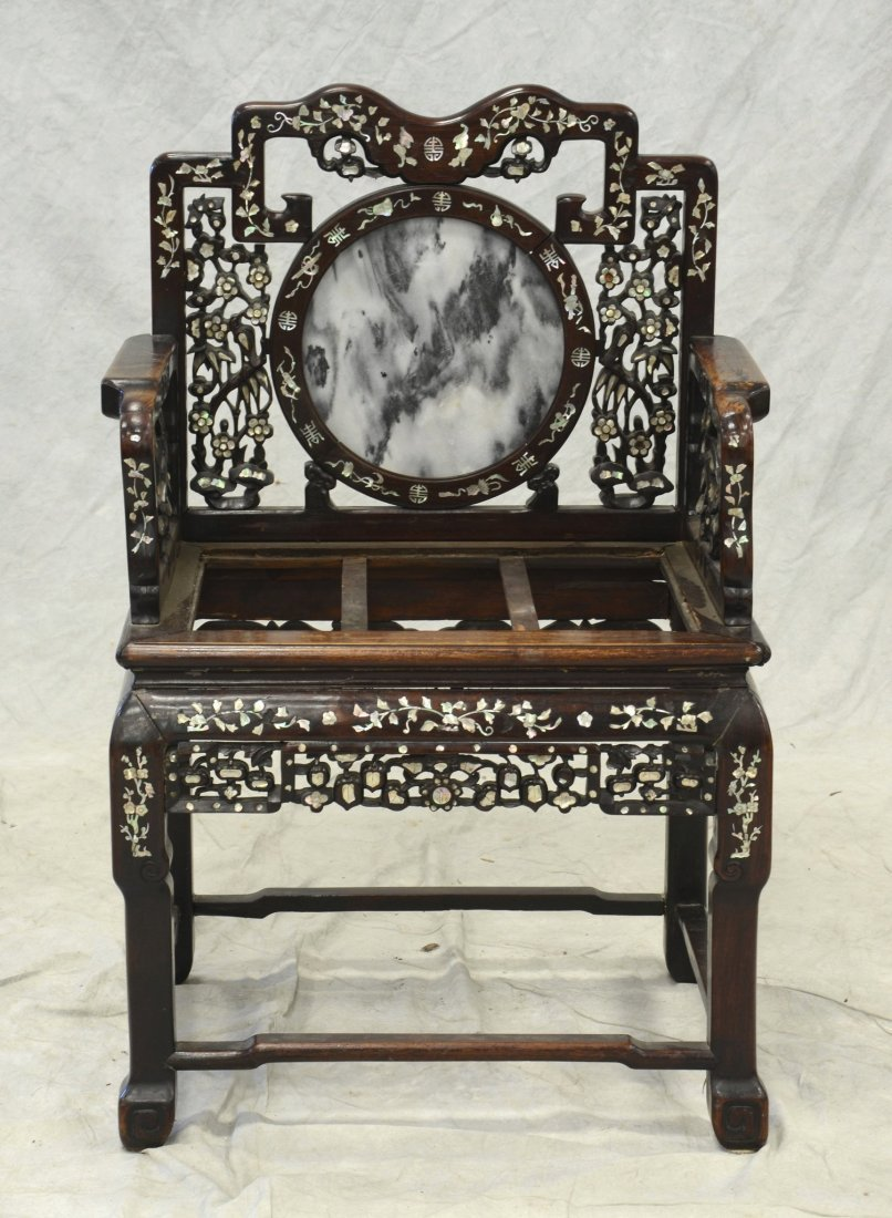 Chinese armchair with mother of pearl inlay, round