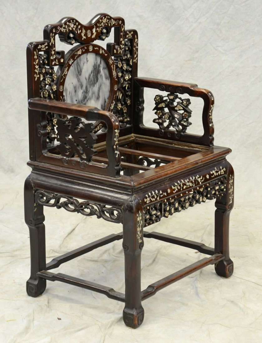 Chinese armchair with mother of pearl inlay, round - 2