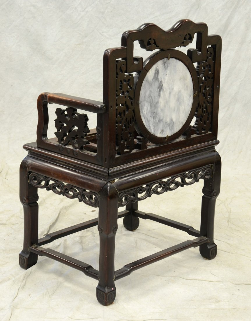 Chinese armchair with mother of pearl inlay, round - 3