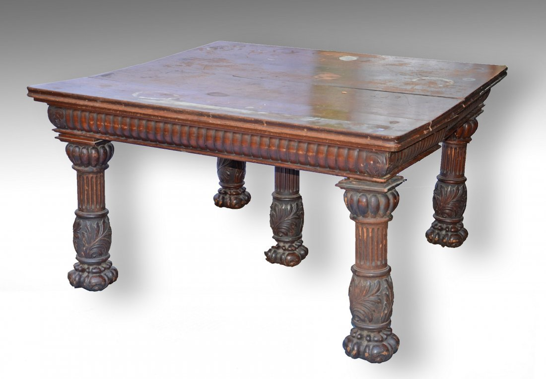 Square mahogany Victorian extension dining room table,