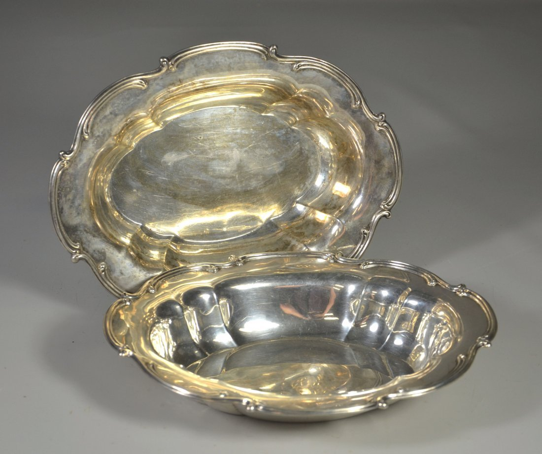 Pair of Gorham oval sterling silver vegetable dishes,