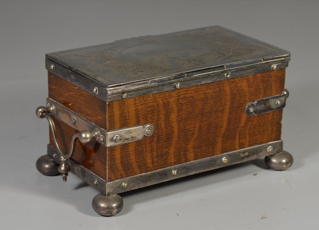 Victorian old English oak & Sheffield silver plate - 3