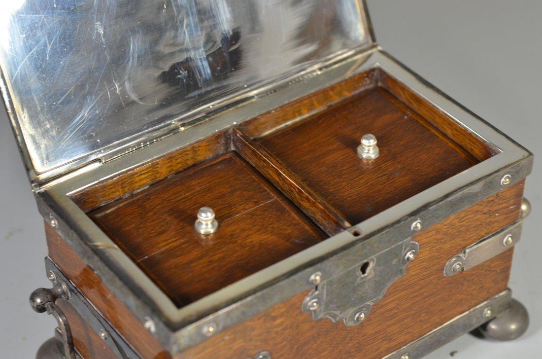Victorian old English oak & Sheffield silver plate - 4