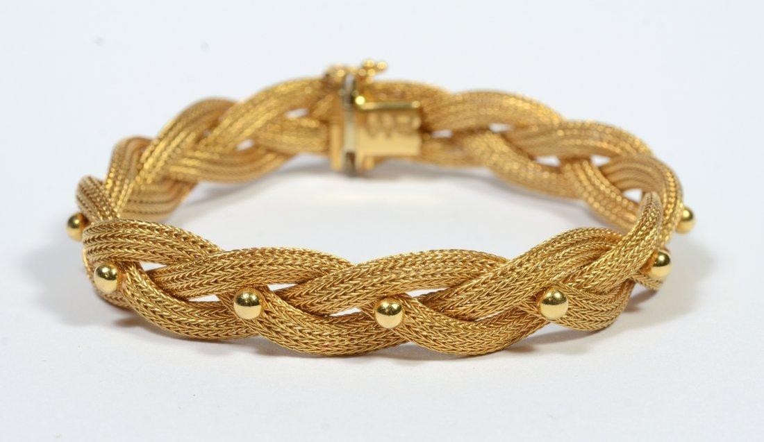 18K gold woven bracelet, 14.9 dwt