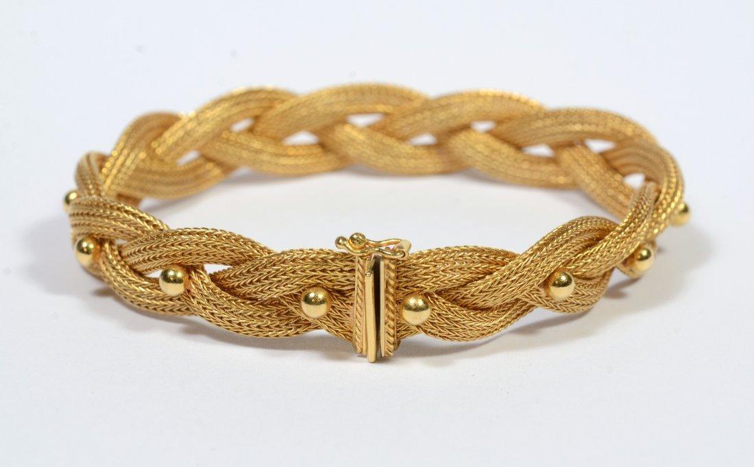18K gold woven bracelet, 14.9 dwt - 2