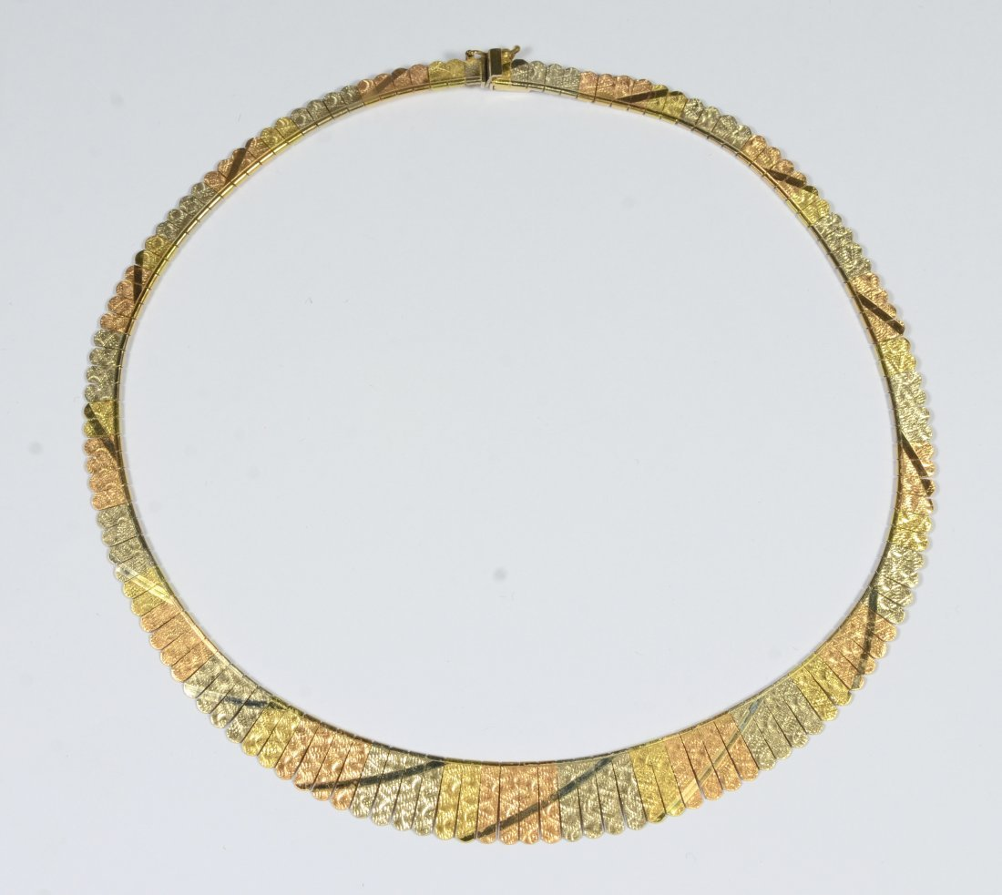 18K gold multicolored necklace, rose, green, etc.,