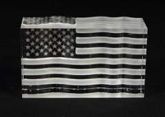 "Steuben crystal American flag, 3-1/2"" h, 6-1/8"" w,"
