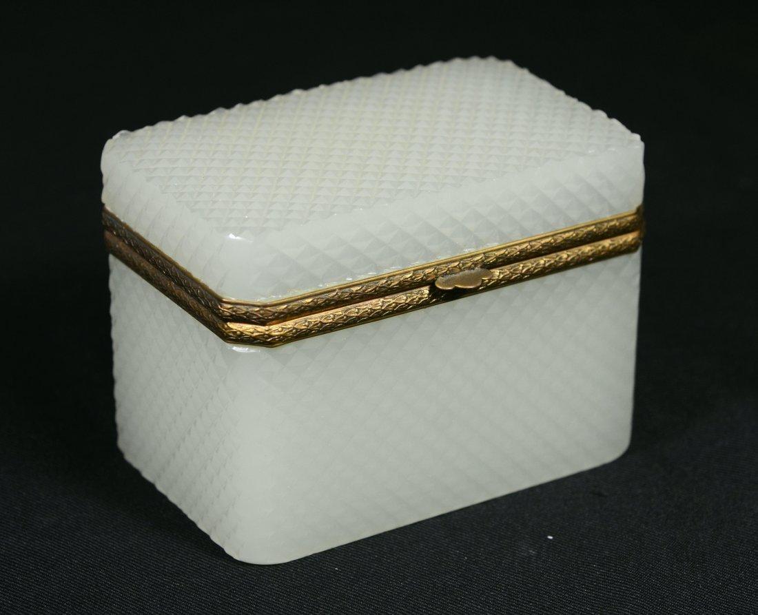 French cut opaline dresser box with gilt ormolu mounts