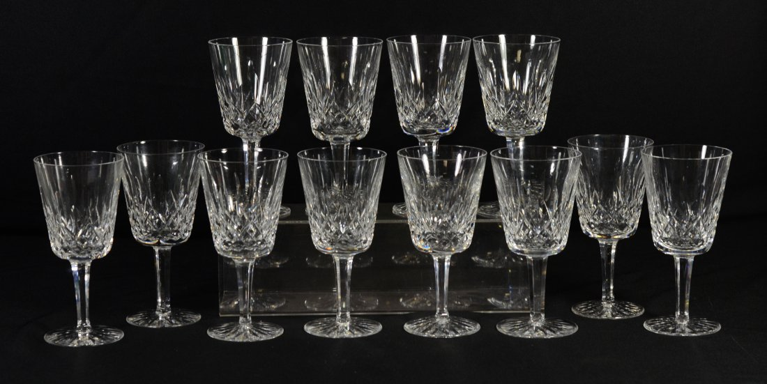 "(12) Waterford Lismore water goblets, 6-7/8"" h x 3-3/8"""