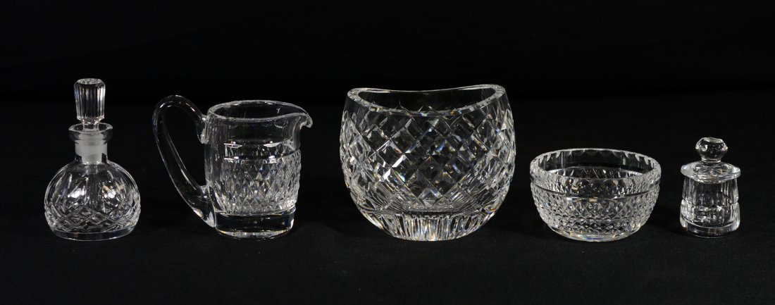 (5) Pieces Waterford crystal, including condiment jar,