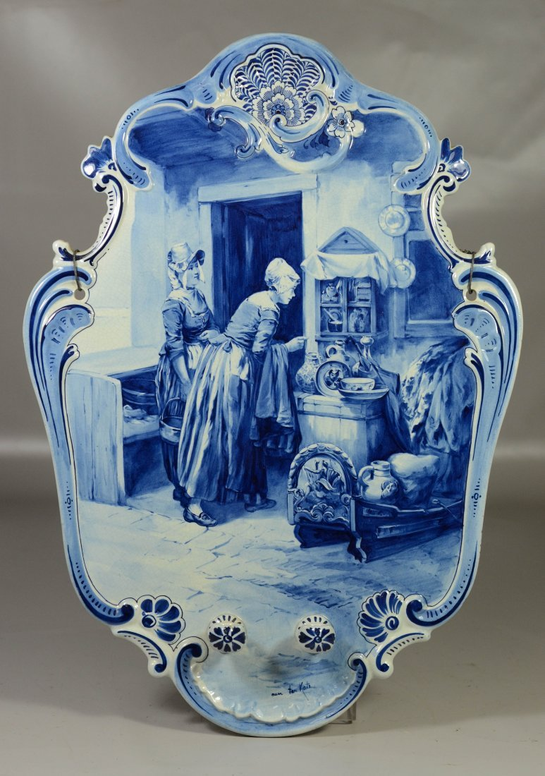 Large blue and white Delft wall plaque with ladies in a