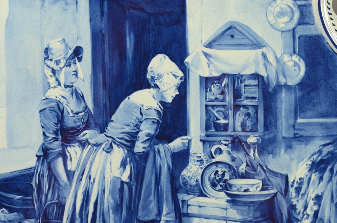 Large blue and white Delft wall plaque with ladies in a - 2
