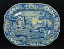 Stubbs English Staffordshire blue & white pottery tree