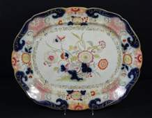 Ironstone pottery floral & butterfly decorated platter,