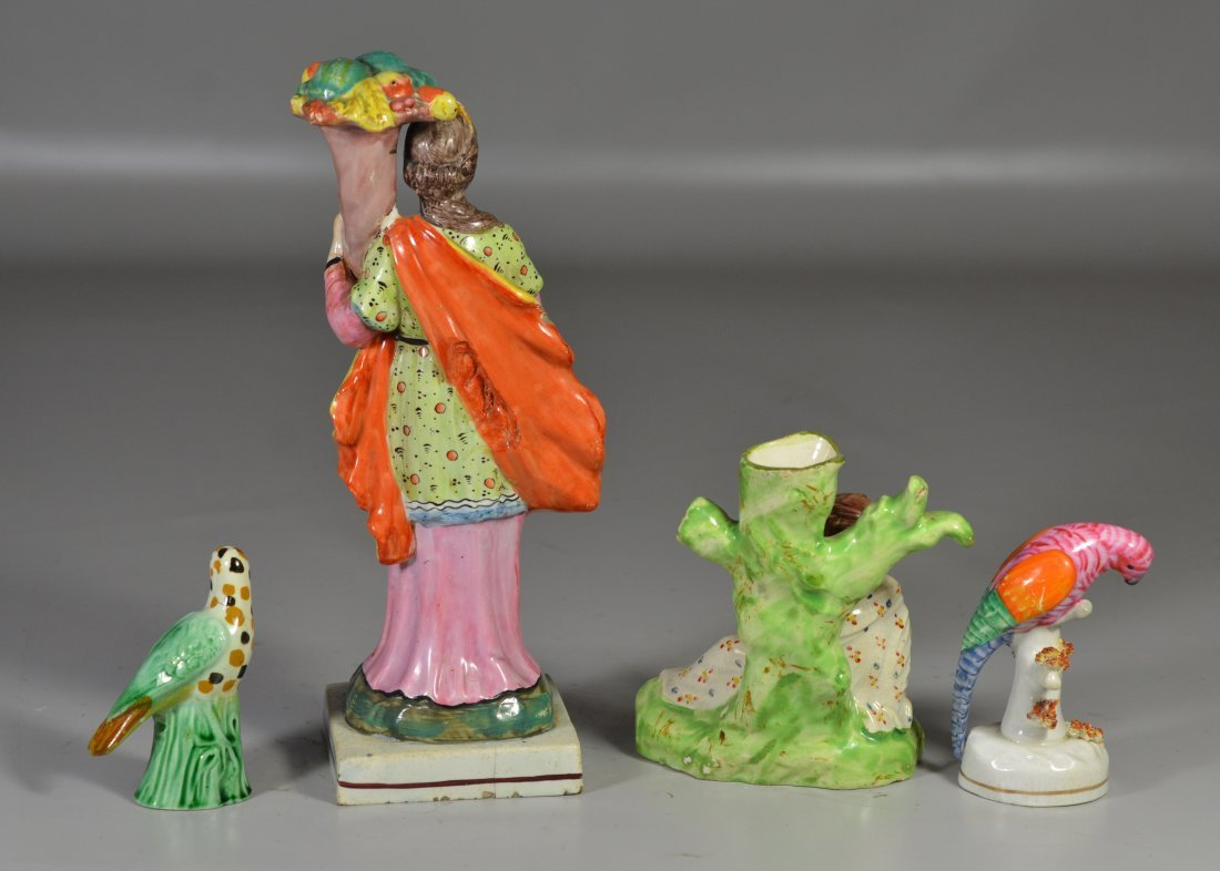 (4) English pottery figurines, including Pearlware - 2