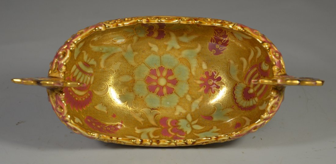 Zsolnay Pecs reticulated small pottery center bowl with - 3