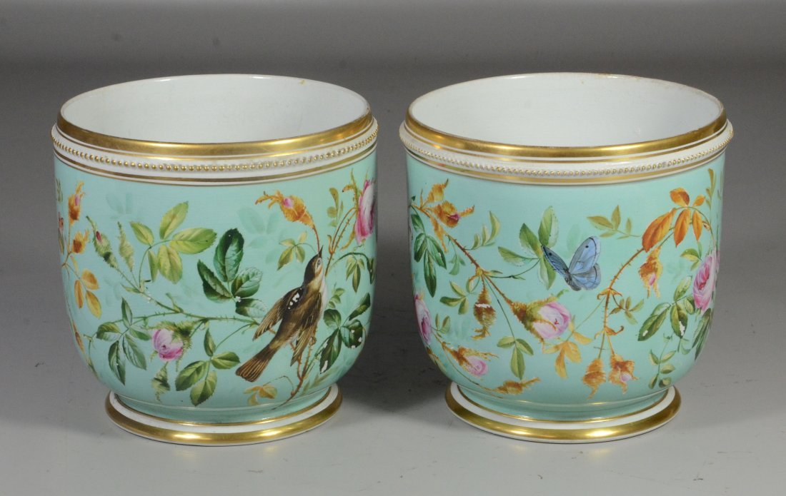 Pair of Davenport Longport Staffordshire porcelain - 4