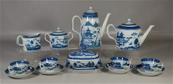 (14) Pieces Mottahedeh Canton pattern blue & white